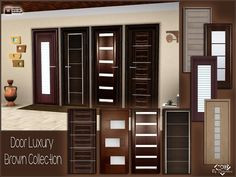 The set includes 8 doors in modern wood and glass (fake)  Found in TSR Category 'Sims 3 Construction Sets'