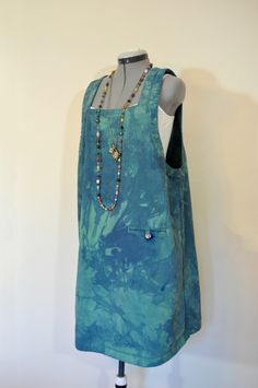 b733878d955 Green 16W XL Denim DRESS Jumper - Blue Green Overdyed Upcycled CJ Banks  Denim Romper Shift Dress - Adult Womens Size Extra Large (46