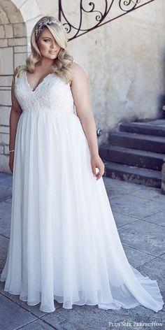 plus size perfection bridal 2016 sleeveles thick straps vneck empire waist lace bodice wedding dress / http://www.deerpearlflowers.com/plus-size-wedding-dresses/