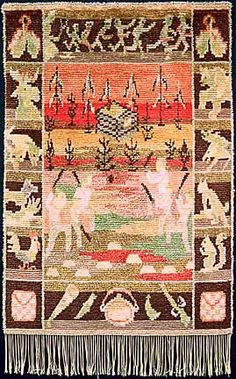 Seven Brothers bed rug/wall hanging,  1910-30.