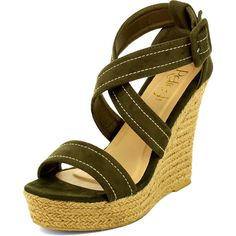 Refresh Khaki Opera Cross-Strap Wedge Espadrille ($20) ❤ liked on Polyvore featuring shoes, sandals, wrap sandals, rope sandals, high heel wedge sandals, platform sandals and wedge heel sandals