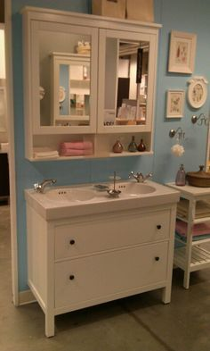 Image result for hemnes bathroom vanity with mirror above it