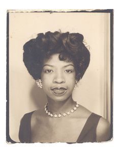 The hair! The jewlery! Love vintage style!  ** Vintage Photo Booth Picture **   Gorgeous, elegant African American woman. ca 1955