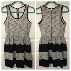 """⚡️LAST CHANCE!⚡️ MAURICES Striped Dress NWT •Maurices black and white striped dress with tweed fabric design. •Size XS but Maurices runs a little big so more like a small. •Bust is approx. 34"""" around, waist is approx. 26"""" with stretchy waistband, and length is 34"""". •The body is 100% polyester, the back is 75% polyester, 22% rayon, and 3% spandex, and the lining is 100% polyester. •New With Tags Maurices Dresses Mini"""