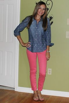 A pair of colored jeans & a Gap chambray polka dot shirt