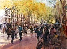 Keith Hornblower My first attempt at painting on canvas - La Rambla, Barcelona.