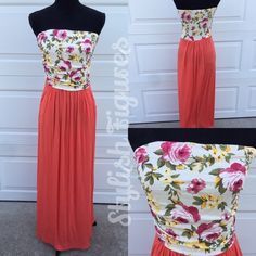 Floral Top Maxi Dress with Pockets! PRETTY IN CORAL MAXI.   Look pretty in coral!  Take a look at this awesome new maxi dress! I love this dress and it had pockets!  Sm, Med, Lg. Comment with size and I will make a new listing. Trades Firm Price. Dresses Maxi