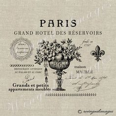 Altered Paris French Hotel Label. Instant Download Digital Image No.213 Iron-On Transfer to Fabric (burlap, linen) Paper Prints (cards, tags