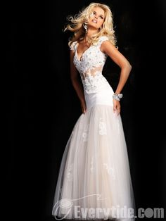 Wholesale White Lace V-neck Trumpet / Mermaid Organza Floor-length Prom Dresses