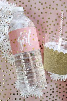 Pink and Gold It's a Girl Baby Shower Water Bottle Labels - 24 Count - Pink and. Pink and Gold It's a Girl Baby Shower Water Bottle Labels – 24 Count – Pink and Gold Baby Sh Regalo Baby Shower, Baby Shower Favors Girl, Baby Shower Princess, Baby Shower Parties, Baby Boy Shower, Baby Girl Shower Themes, Girl Baby Shower Decorations, Baby Shower Centerpieces, Trendy Baby