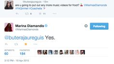 Marina and the Diamonds confirming more Froot album music videos