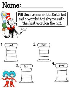 Worksheets Cat In The Hat Worksheets sentence structure sentences and the on pinterest