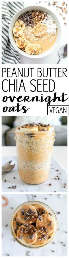 Peanut Butter Chia Overnight Oats. VEGAN & Gluten Free. Naturally sweetened with mashed banana. Wholesome, energizing and easy breakfast fuel. Packed with superfoods and nourishing ingredients!