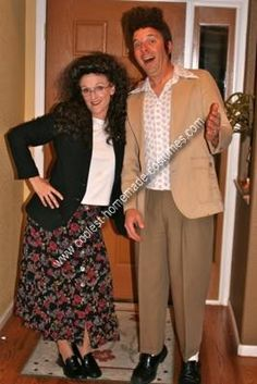 Homemade Kramer and Elaine from Seinfeld Couple Costume: We made this  Kramer and Elaine from Seinfeld Couple Costume mostly from clothing we found at thrift stores, but what really made them believable was the
