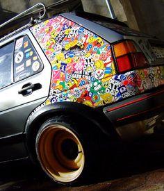 Sticker bomb design on a car's rear panel Sticker Bomb, Sticker Shop, Sticker Design, Car Stickers, Custom Stickers, Vw Caddy Mk1, Volkswagen Golf Mk1, Vw Mk4, Jetta A2