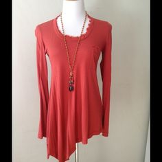 Splendid Long Sleeved Top: Newly Listed Splendid for Anthropologie in the best cinnamon color, asymmetrical hem, long sleeves and one pocket. Soft as can be, 50% cotton, 50% modal. Easy to wear, pack, styled to be chic and comfy. It's Splendid, after all. Made in USA. Anthropologie Tops