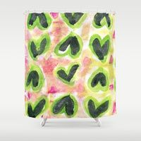 Lovely Black Hearts #Shower #Curtains by Artsy Craftery Studio | Society6, black, pink, green