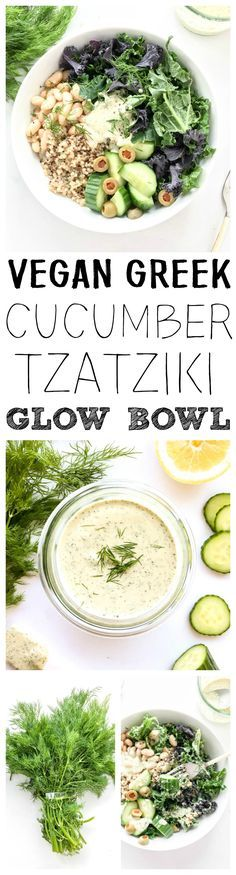 Vegan, Gluten Free. 'Greek Cucumber Tzatziki Glow Bowl'. Refreshing, simple and bright! Kale, quinoa, white bean & cucumber bowl, plus a Dairy-Free, Lemony Dill Cucumber Tzatziki Sauce. #vegan #greek #bowl #tzatziki