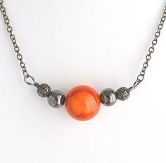 Bubble necklace, orange bead necklace, gunmetal bead necklace, large bead necklace, single bubble necklace, statement necklace