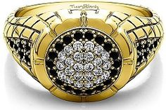 Yellow Gold Plated Sterling Silver Gents Ring With Black And White Diamonds