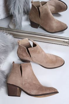 a8c550556e8 Melissa Beige Side Cut Out Low Ankle Boots. Virgo Boutique Fashion ·  Women s Fashion Shoes