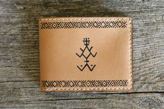 The Berber Wallet in Natural by Barrett Alley. Tattooed with Berber symbols