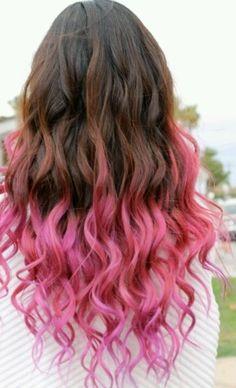 Dip dyed hair, Pink, Wavy hair