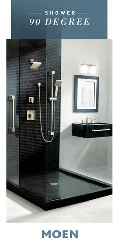 Our 90 Degree shower collection makes any bathroom dramatic and ultra-modern. Laundry In Bathroom, Bathroom Renos, Basement Bathroom, Bathroom Renovations, Beautiful Bathrooms, Modern Bathroom, Small Bathroom, Master Bathroom, Dyi Bathroom