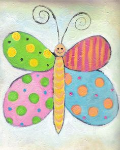 Colorful Butterfly Painting  Acrylic On Canvas  by Strawbridge, $25.00