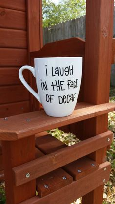 Funny Quote Coffee Mug, Large Painted Coffee Mug, Coffe Lovers Coffee Mug, White Coffee Mug by JustABrushAndPaint on Etsy