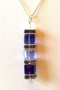Teresa  Necklace Vertical in Tanzanite Prov by sparkleezcrystals, $30.00
