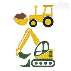 Construction Digging Dig Truck Embroidery Designs