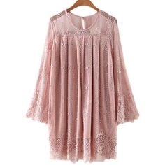 SheIn(sheinside) Pink Bell Sleeve Embroidery Hollow Lace Dress