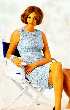 Vintage e Pattern PDF Crocheted Metallic Dress 1970's Bust Size 39.5-47.5 Inches Instant PDF Instant Download