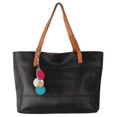 Hunnt Retro Fashion Women's Tote PU Leather Shoulder Bag Handbag Shopper (Candy Color/Black)