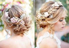 coiffure mariage avec fleurs dans les cheveux- chignon bas décoiffé avec tresse