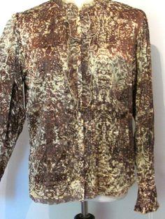 Peter Nygard Size 10 100% Silk Blouse Brown Ivory Button Front Tucks Ruffles  #PeterNygard #Blouse #Career