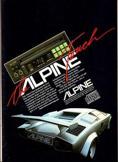 Alpine compact disc audio system for Lamborghini print advertisement