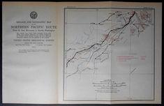 1915 Railroad Map Ritzville, Tokio, Keystone, Fishtrap, Babb, Marshall, Dynamite Washington WA. Northern Pacific Rail Antique. Map Vintage