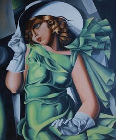 'Lady in green' based on Tamara Lempicka, painted by Andrzej Kapela