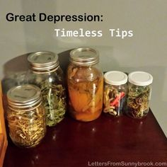 Depression: Timeless Tips Tips and stories from the Great Depression on frugal living, cooking and keeping a positive attitude.Tips and stories from the Great Depression on frugal living, cooking and keeping a positive attitude. Frugal Living Tips, Frugal Tips, Depression Era Recipes, Preserving Food, Canning Recipes, Money Saving Tips, Money Savers, Homemaking, Cooking Tips