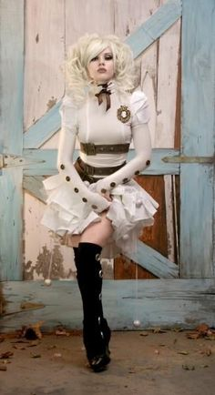 Steampunk Couture White/off white, long sleeve dress, and 3 belts, black socks/tights