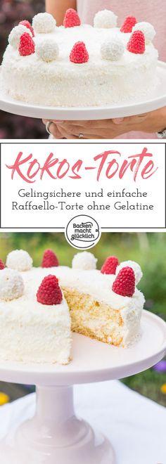 Einfache Raffaello-Torte, die sich auch gut für Backanfänger eignet. Die Kokostorte schmeckt himmlisch lecker und ist absolut gelingsicher. #raffaellotorte #einfach #vegetarisch #kokos #himbeeren #torte #sommer #backenmachtgluecklich