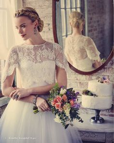 Bridal lace and tulle separates from our Paquita collection for a romantic New Year's Eve bridal look.