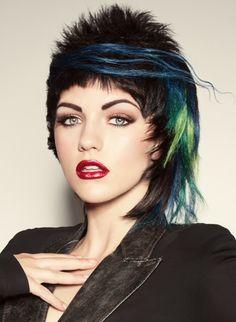 Hair & Makeup: Sherri Jessee Photo: Brad Lovell Model: Jacque Caroll  #vivids #bluehair #greenhair #shortcuts
