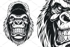 Vector illustration, ferocious gorilla head on white background Vector graphics Install any size without loss of quality. ZIP archive contains: 1 -file 1 Business Illustration, Graphic Illustration, Scary Drawings, Gorilla Tattoo, Silverback Gorilla, Blackout Tattoo, Star Wars Facts, Star Wars Tattoo, Head Tattoos