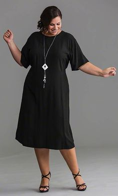 Basic Rayon Dress / MiB Plus Size Fashion for Women / Spring Fashion / Little Black Dress  http://www.makingitbig.com/product/5222