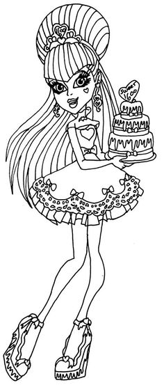 draculaura birthday coloring page - Monster High Dolls Coloring Pages