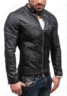 Men's Genuine Lambskin Leather Jacket Black Slim fit Motorcycle jacket BS34 #WesternOutfit #Motorcycle