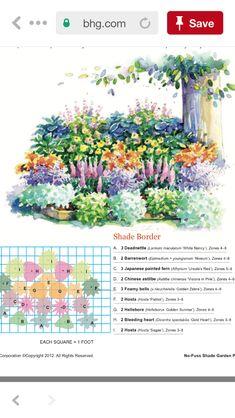 Most Creative Gardening Design Ideas - New ideas Perennial Garden Plans, Flower Garden Plans, Garden Design Plans, Shade Garden Plants, Garden Shrubs, Clematis, Vines, Shade Flowers, Flowers Perennials